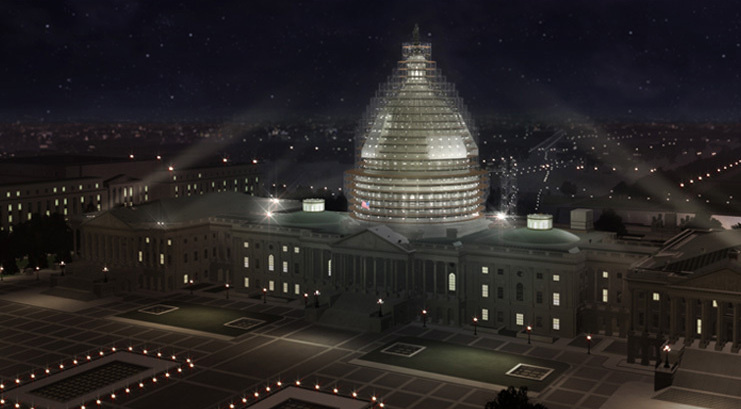 A rendering of the scaffold system that will surround the Capitol Dome during the restoration.