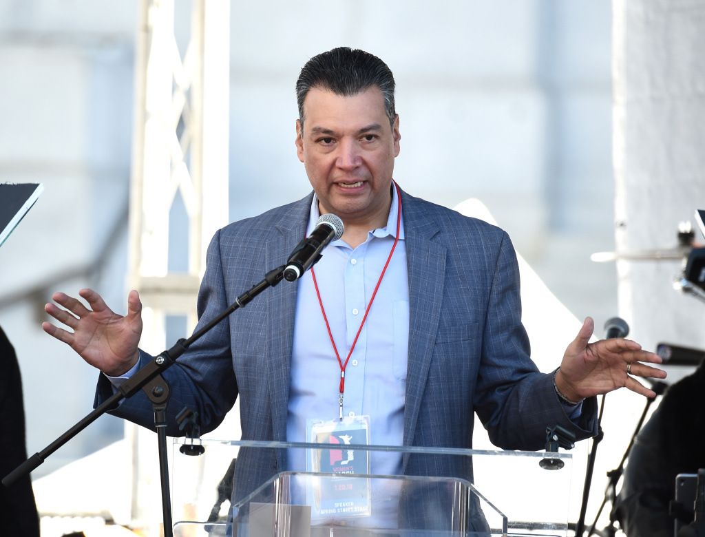 Secretary of State of California Alex Padilla speaks onstage at 2018 Women's March Los Angeles at Pershing Square on January 20, 2018 in Los Angeles, California.