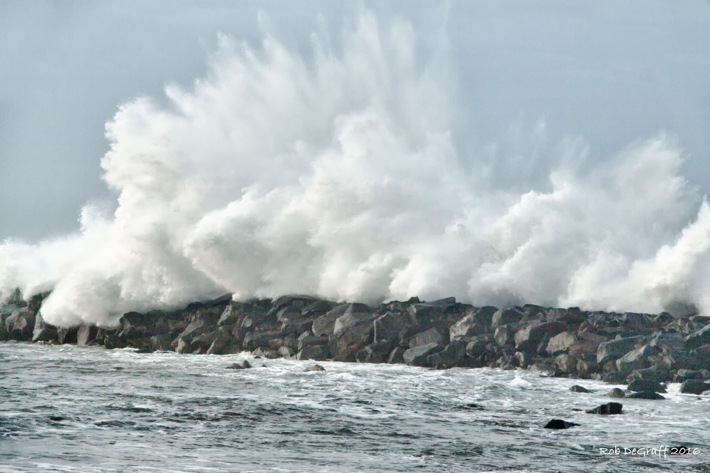 In this stock photo, storm-generated waves pound Morro Bay jetty. The National Weather Services issued a high surf advisory for Friday along California's central Coast.