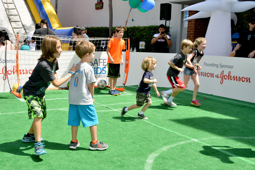 Kids play soccer during Safe Kids Day presented by Nationwide to raise awareness of preventable injuries on April 26, 2015 in West Hollywood.