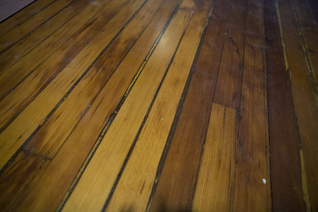 The hardwood floors in the permanent exhibition wing of Italian Hall have been restored for the Italian American Museum of Los Angeles in this picture taken on Wednesday morning, May 11, 2016.
