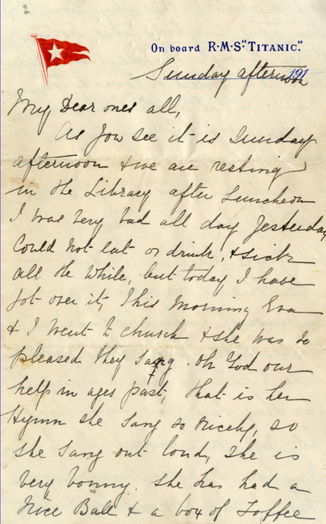 A letter written aboard the Titanic on the day that it sank sold at auction for around $170,000 in England Sunday.