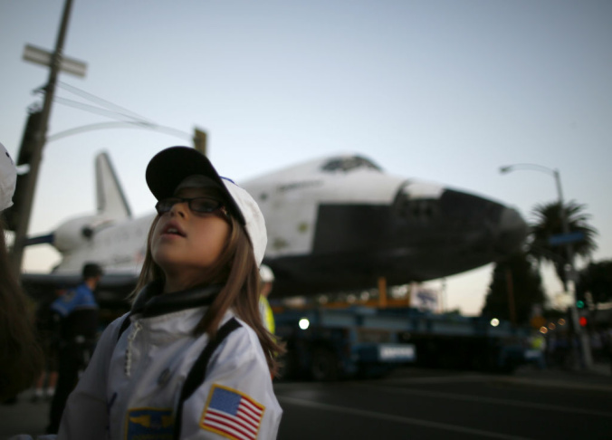 Space Shuttle Endeavour is situated in it's new home, the hangar in the California Science Center on Oct. 14, 2012.