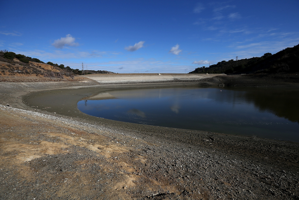 Low water levels are visible at the Stevens Creek Reservoir on January 30, 2014 in Cupertino, California. Santa Clara County reservoirs are at three percent of capacity or lower.