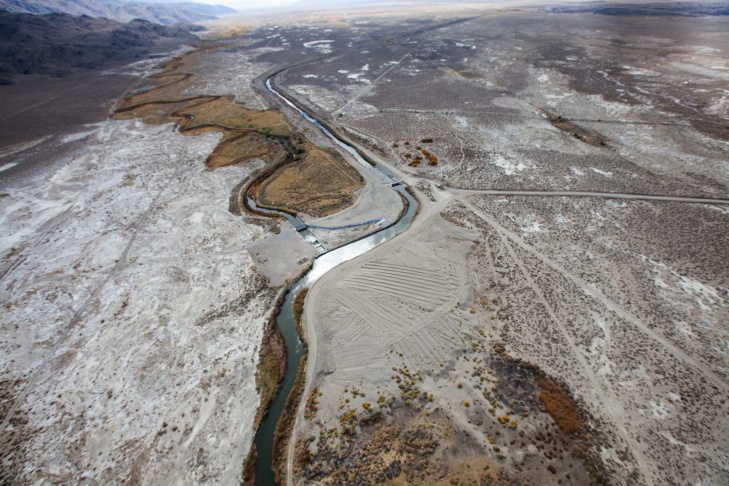 The Los Angeles Aqueduct winds through the Owens Valley in the Eastern Sierras.