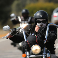 A Rebels motorcycle club member rides from Meckering to Perth on September 12, 2013 in Perth, Australia.
