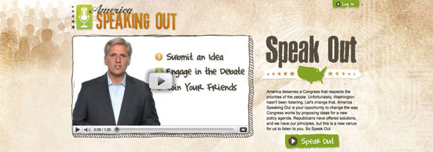 The America Speaking Out homepage, featuring a video from Republican Congressman Kevin McCarthy of Bakersfield.