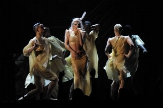 Lady Gaga performs at the 53rd annual Grammy Awards show at the Staples Center in Los Angeles on February 13, 2011.