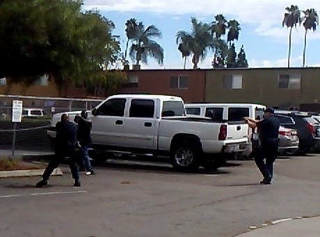 A screen shot from a video obtained by the El Cajon police shooting of a man Tuesday. (Photo from El Cajon Police.)