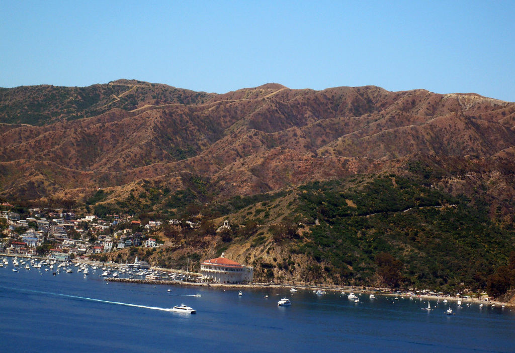 File: Avalon on Santa Catalina Island, California, from a helicopter of the Island Express company. Under the agreement, the Navy cannot use sonar in Southern California habitat for beaked whales between Santa Catalina Island and San Nicolas Island.