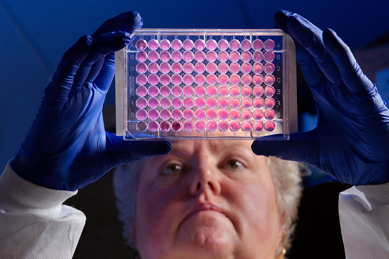 Centers for Disease Control and Prevention microbiologist Kitty Anderson holds up a 96-well plate used for testing the ability of bacteria to growth in the presence of antibiotics.