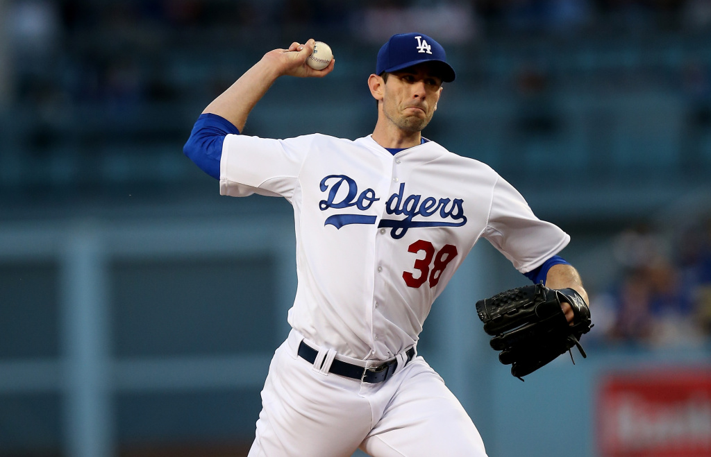 Brandon McCarthy #38 of the Los Angeles Dodgers throws a pitch against the San Diego Padres at Dodger Stadium on April 8, 2015 in Los Angeles, California.