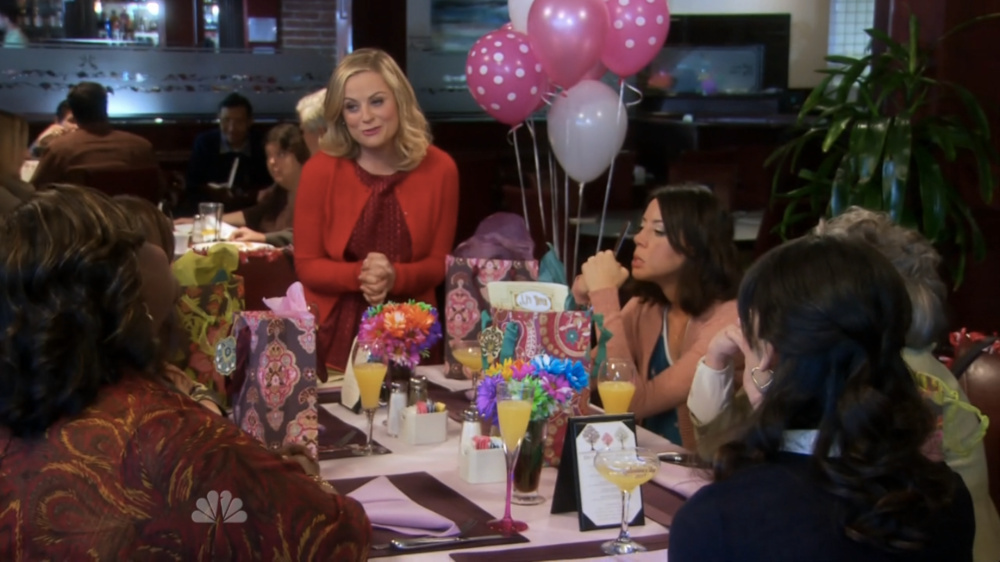 Leslie Knope celebrates Galentine's day with her friends.