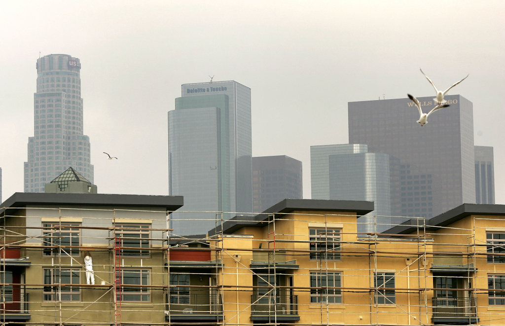 Residential units are constructed downtown on April 27, 2005 in Los Angeles, California.