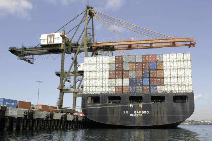 Containerships are measured in TEUs — or Twenty foot Equivalent Units — with the average size being around 8,000 TEUs.  The newer post-Panamax ships can reach upwards of 12,500 TEUs.