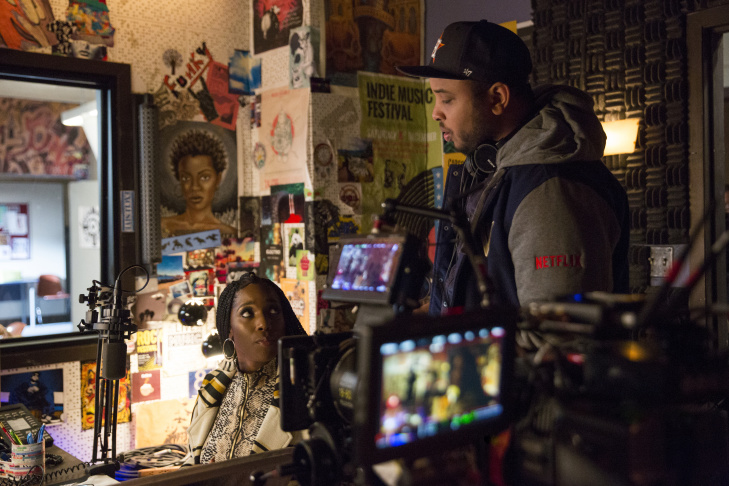 Tessa Thompson and Justin Simien on the set of