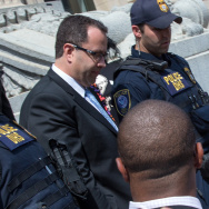 INDIANAPOLIS, IN - AUGUST 19:  Jared Fogle leaves the courthouse on August 19, 2015 in Indianapolis, Indiana.  Fogle was part of a Federal Investigation which included a raid of his home in July 2015.  (Photo by Joey Foley/Getty Images)