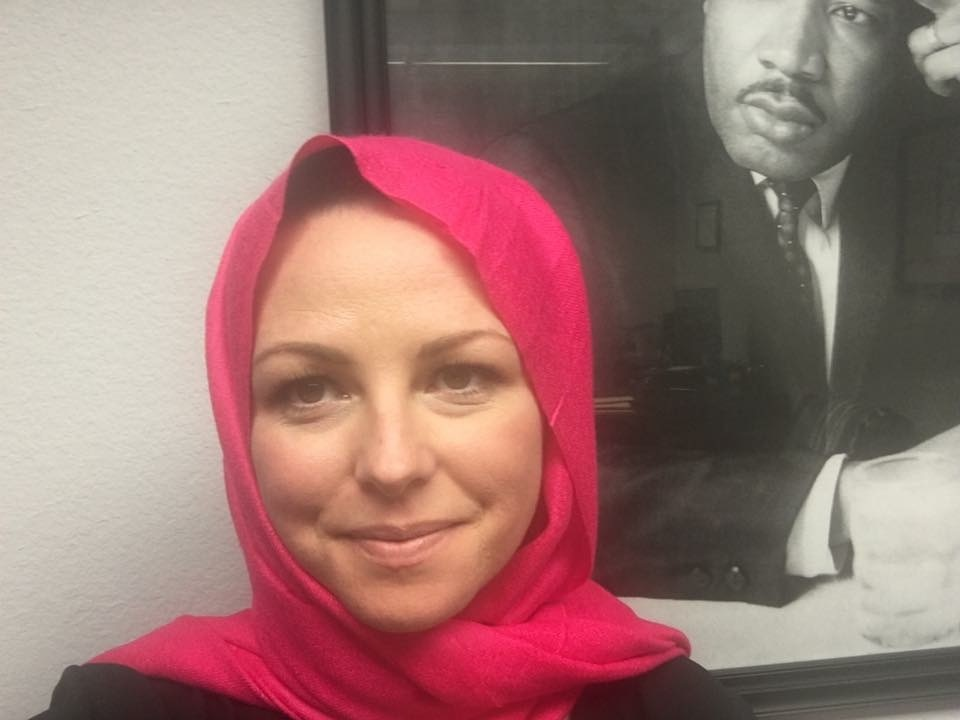 Jennifer Muir Beuthin wears a headscarf in solidarity with Muslim women on World Hijab Day, Feb. 1, 2017.