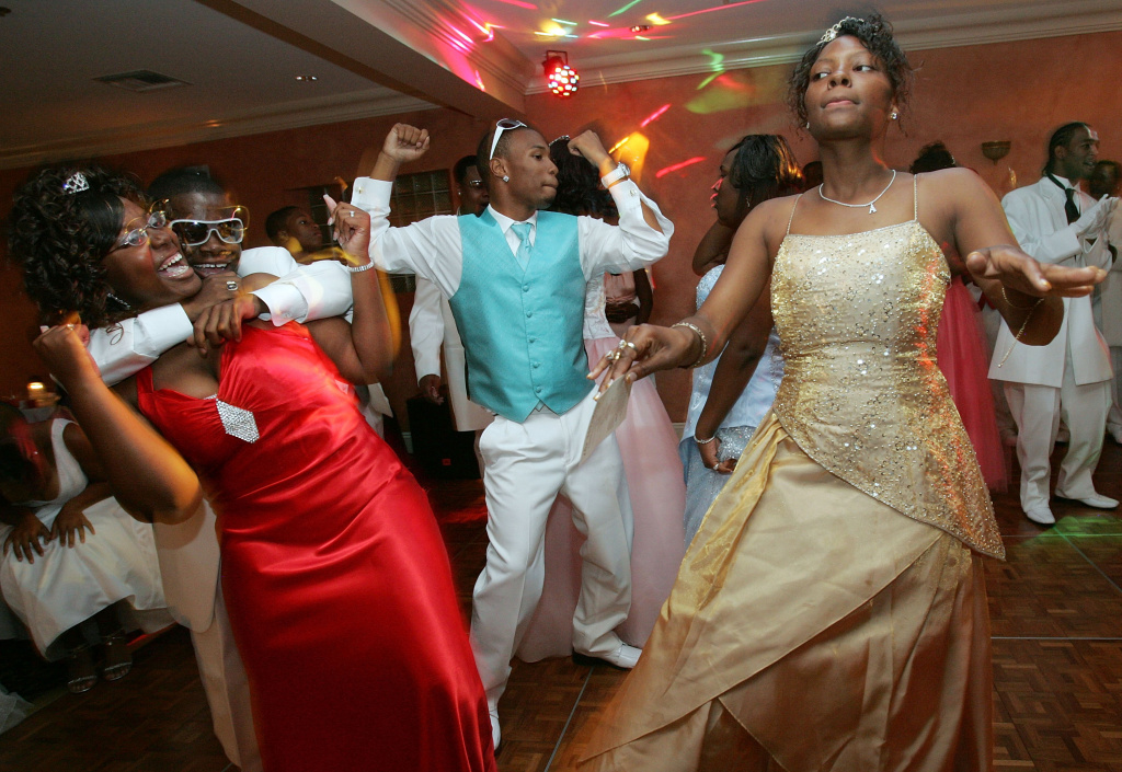 Juniors and seniors from John McDonogh High School celebrate at their prom June 1, 2007 in New Orleans, Louisiana. The struggling inner city school held its first prom today since Hurricane Katrina.