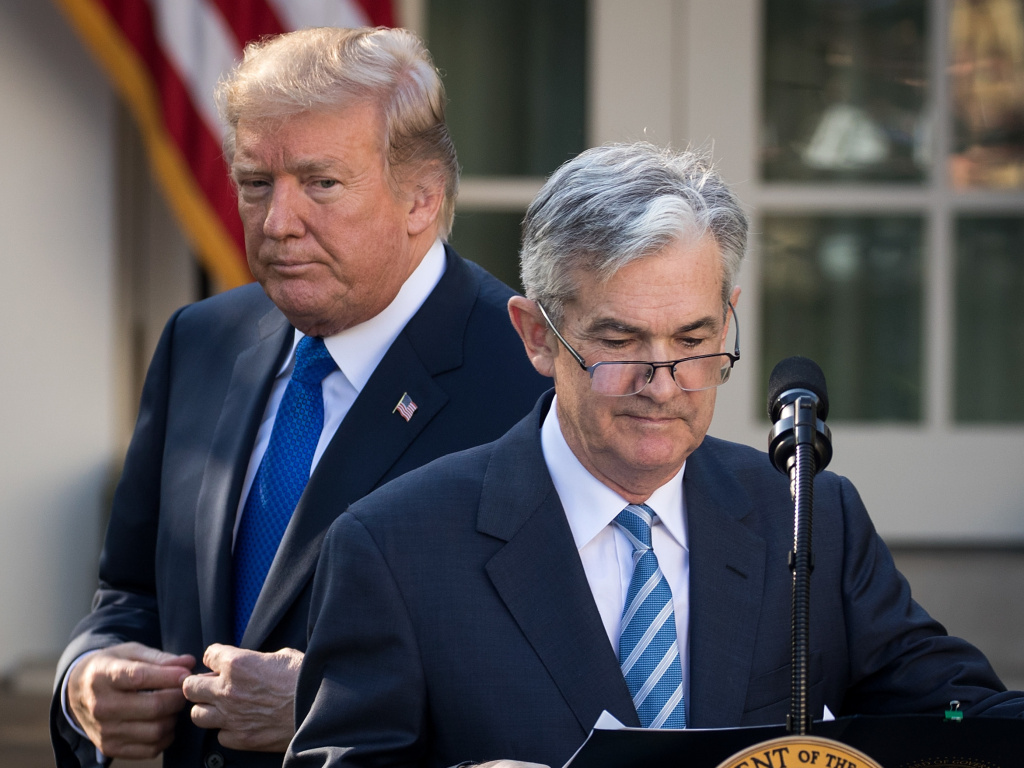 President Trump looks on as his nominee for Federal Reserve chairman, Jerome Powell, takes to the podium at the White House on Nov. 2. On Thursday, Trump said he is