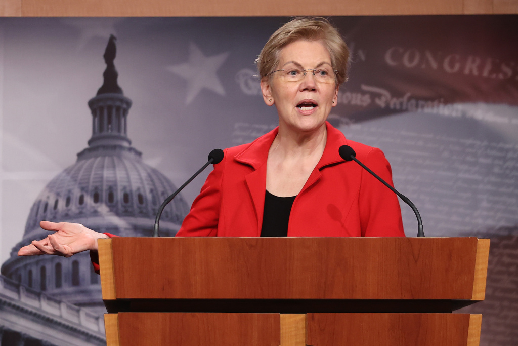 Sen. Elizabeth Warren holds a news conference in March. She and Sen. Bernie Sanders are leading the push to introduce a bill Tuesday that would make pandemic-related food benefits for college students permanent, and create grants for colleges to address hunger.