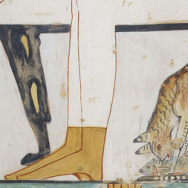 A cat in a domestic setting—eating under a dining table—sometime after 1500 B.C.E.