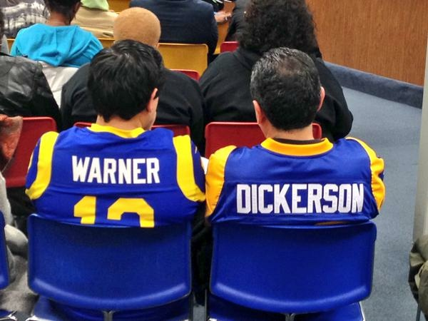 L.A. Rams fans at an Inglewood City Council meeting on Tuesday, Feb. 24, 2015.