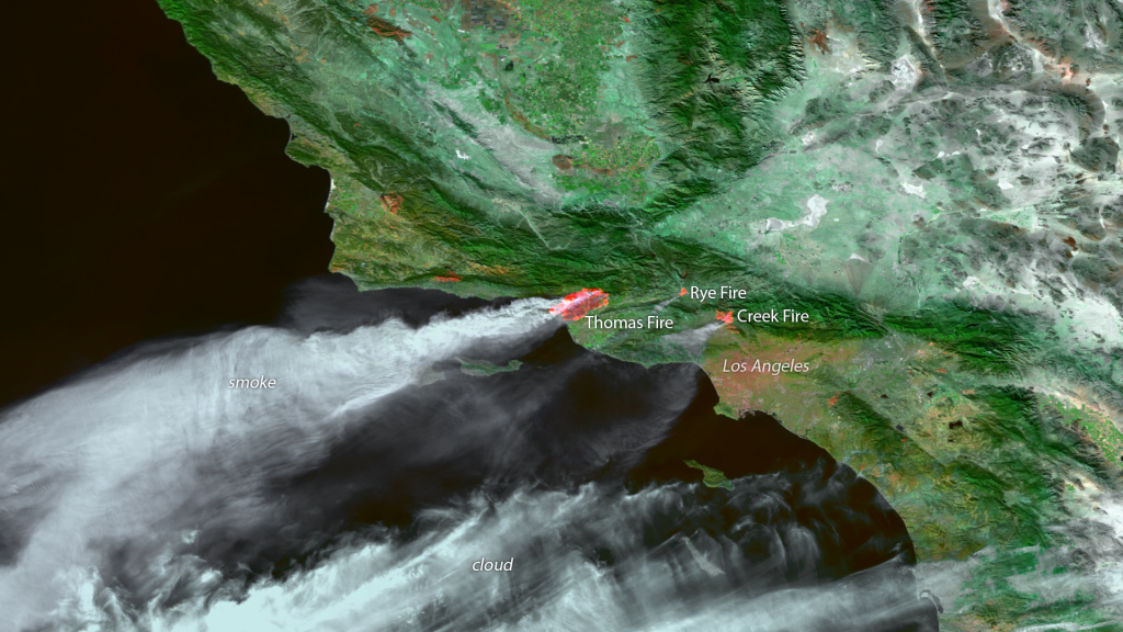 A satellite captures that moment that fires engulf large swaths of Southern California on December 6, 2017.