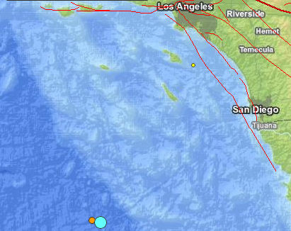 The blue dot at the bottom of the map marks the location of a 6.3 eathquake.