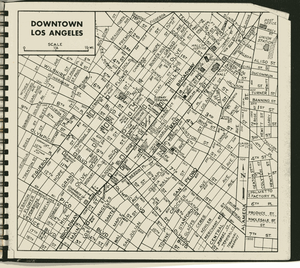 The Downtown Los Angeles overview from the 1946 Thomas Guide.
