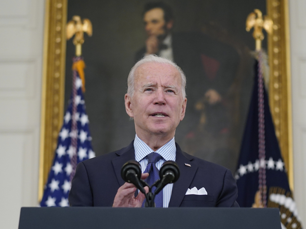 President Biden speaks about the COVID-19 vaccination program Tuesday in the State Dining Room of the White House. Biden has set a goal of seeing 160 million adults fully vaccinated by July Fourth.