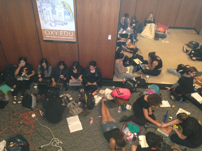 About 400 students occupying the Arthur G. Coons Administrative Center on Eagle Rock's Occidental College campus. They to camp out overnight.