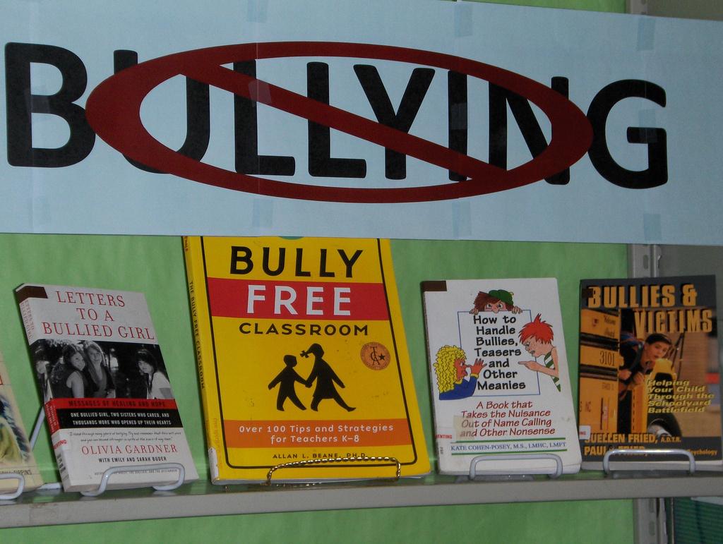 An anti-bullying book display.
