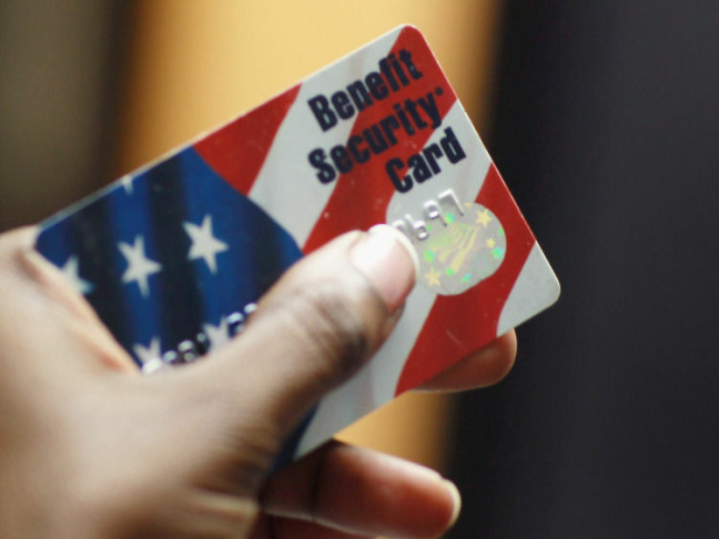 A federal food stamps card that is used to purchase food.