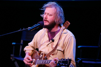 Musician Justin Vernon of Bon Iver performs on stage.