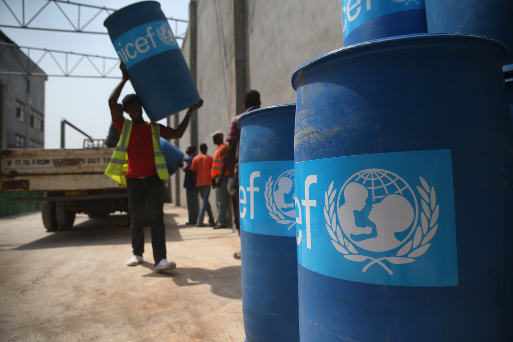 UNICEF workers assemble
