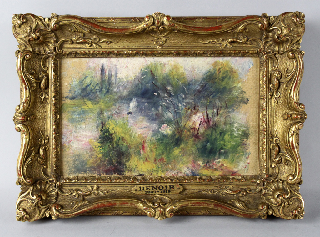 This image released by Potomack Company shows an apparently original painting by French impressionist Pierre-Auguste Renoir that was acquired by a woman from Virginia who claims she got it at a flea market in West Virginia and paid $7 for a box of trinkets that included the painting.  A judge has ordered it returned to a Baltimore museum who said the painting was stolen from them in 1951.