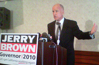 Democratic gubernatorial candidate Jerry Brown at a press conference in Los Angeles June 9, 2010.