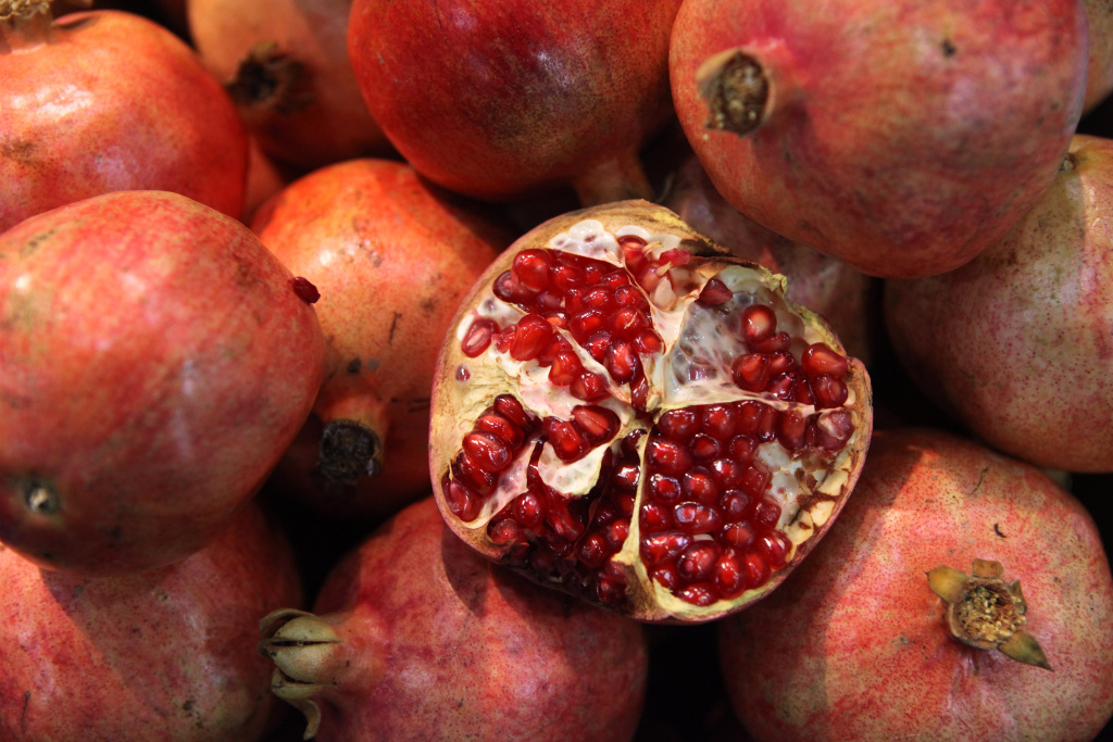 Fresh pomegranates are displayed at the World Fruit and Vegetable Show in the ExCeL exhibition centre on October 21, 2009 in London, England.