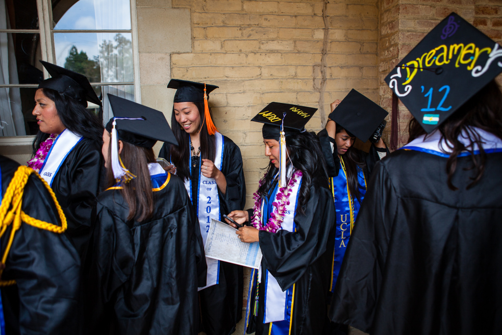 Undocumented students at UCLA line up for graduation on June 15, 2012, the same day that the White House announced that deportations would be deferred for many undocumented youth.