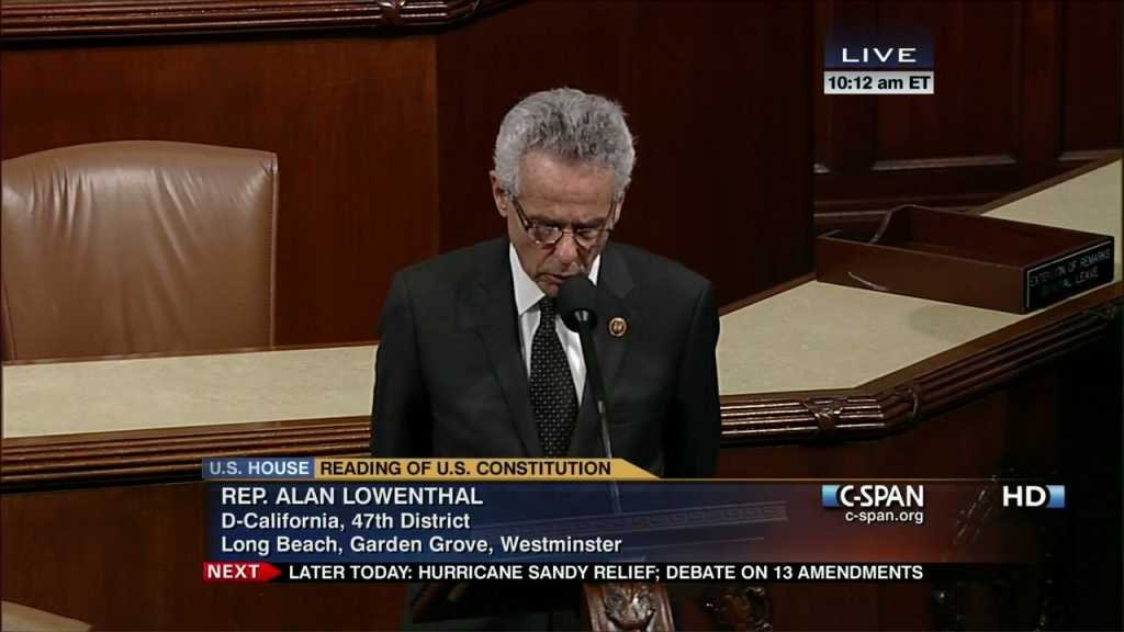 Alan Lowenthal (D-Long Beach), seen here in a House floor debate from earlier this year, says members of Congress are staying busy during the shutdown.
