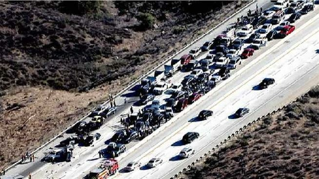 A six-car pileup on the northbound 14 Freeway on Monday, June 17, was reportedly caused by a driver going the wrong way.