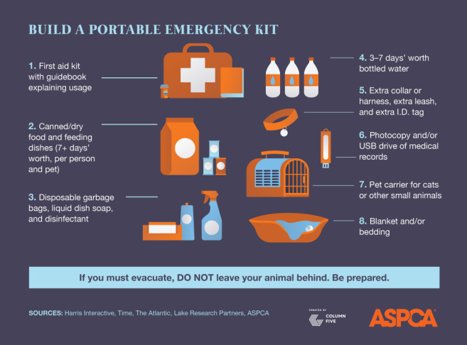 An infographic on pets in disasters from the ASPCA.