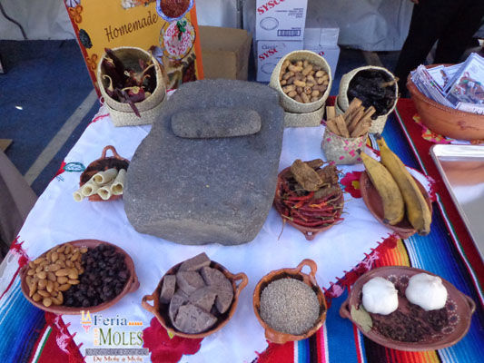 Mole ingredients are displayed at the Feria de los Moles last year. This celebration of the richly complex southern Mexican sauce is taking place this Sunday, October 7.
