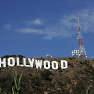 The newly refurbished Hollywood Sign is seen atop of Mt. Lee after former Los Angeles Mayor Antonio Villaraigosa added a finishing touch of paint to complete the project.