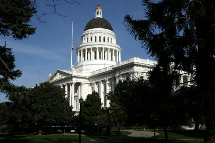 A view of the California State Capitol in Sacramento, California.