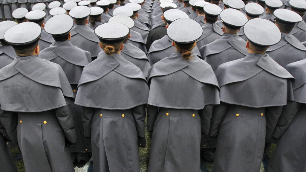 Cadets from the United States Military Academy at a 2012 Army-Navy football game.