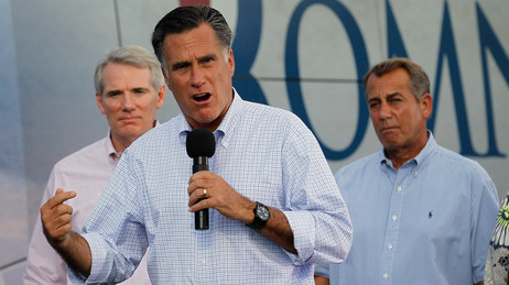 Republican presidential candidate Mitt Romney campaigns with Sen. Rob Portman of Ohio (left) and House Speaker John Boehner on Sunday, June 17 2012 in Troy, Ohio.