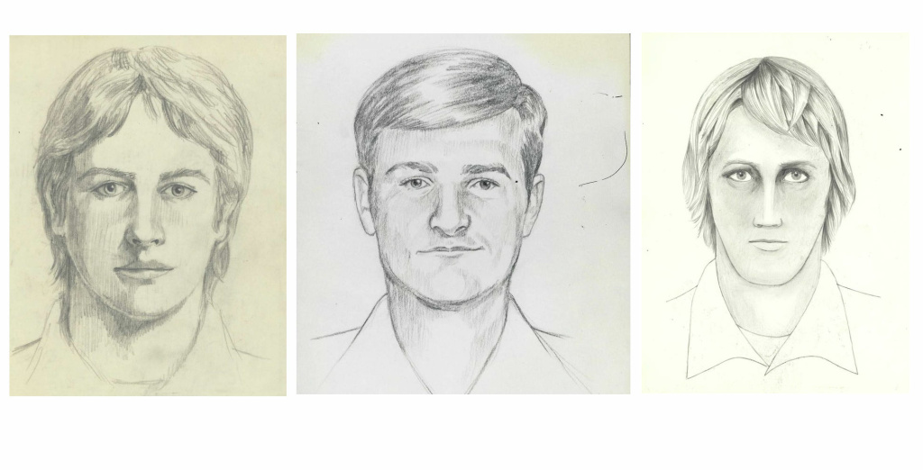 The FBI released these three sketches of the suspect in the Golden State Killer case.