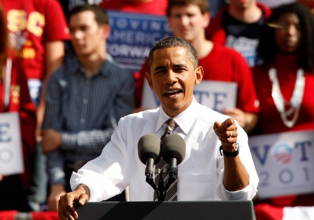 U.S. President Barack Obama speaks during a Moving America Forward rally at the University of Southern California (USC) October 22, 2010 in Los Angeles, California.